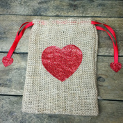 Burlap Bag with Sparkle Red Heart 18cm gift bag
