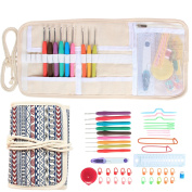Damero New Ergonomic Crochet Hooks Set, Crochet Accessories Kit/ Roll Up Storage Bag with Soft Grip Crochet Needles and Knitting Accessories, Bohemian