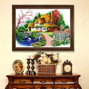 Dahlia DIY Dream Cabin Landscape Scenery Counted 11ct Print Cross Stitch Kits Embroidery Handmade Needlework Wall Home Decor