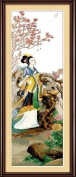 Dahlia DIY Four Great Beauties of Ancient China People Counted Cross Stitch Kits 11CT Print Embroidery Handmade Needlework Wall Home Decor (Cotton Thread 112x38CM, Diaochan worshiping months