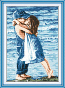 YEESAM ART® New Cross Stitch Kits Advanced Patterns for Beginners Kids Adults - Lovers Seaside 11 CT Stamped 39×54 cm - DIY Needlework Wedding Christmas Gifts