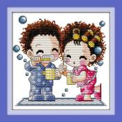 YEESAM ART® New Cross Stitch Kits Advanced Patterns for Beginners Kids Adults - Couple Love Doll 11 CT Stamped 32×32 cm - DIY Needlework Wedding Christmas Gifts
