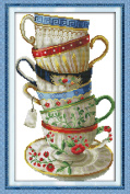 YEESAM ART® New Cross Stitch Kits Advanced Patterns for Beginners Kids Adults - Elegant Coffee Cup 11 CT Stamped 35×54 cm - DIY Needlework Wedding Christmas Gifts