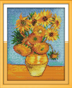 YEESAM ART® New Cross Stitch Kits Advanced Patterns for Beginners Kids Adults - Sunflower Painting 11 CT Stamped 24×32 cm - DIY Needlework Wedding Christmas Gifts