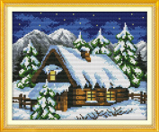 YEESAM ART® New Cross Stitch Kits Advanced Patterns for Beginners Kids Adults - Winter Fairy Tale House 11 CT Stamped 37×29 cm - DIY Needlework Wedding Christmas Gifts