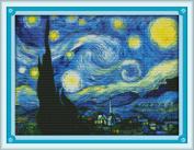 YEESAM ART® New Cross Stitch Kits Advanced Patterns for Beginners Kids Adults - Starry Night 11 CT Stamped 59×45 cm - DIY Needlework Wedding Christmas Gifts