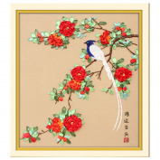 Egoshop Silk Ribbon Embroidery Kit Good luck DIY Wall Decor Silk Ribbon Embroidery Kit With English Instruction