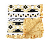 Baby Minky Receiving Blanket - 80cm x 80cm Nursing - Cotton Polyester - Gold Aztec