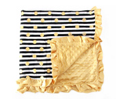 Baby Minky Receiving Blanket - 80cm x 80cm Nursing - Cotton Polyester - Black and Gold Stripe Dot