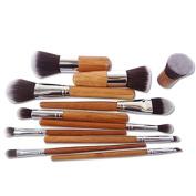 Xyindia(TM)Wood Handle Makeup Set Cosmetic Make Up Brush Eyeshadow Foundation Concealer Brush Set, 11Pcs/set