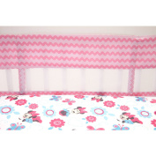 Super Cute, Disney Minnie Mouse Happy Day Pink Flower Crib Bumper
