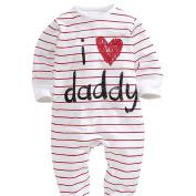 Little Kiddo Fashion Kids Baby Boy Girl Unisex Toddler Round Neck Long Sleeve Stripe Letter Print Rompers