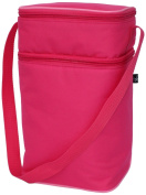 Fully Insulated Bottle Cooler Tote Bag in Pink & Light Pink