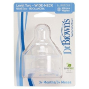 Dr. Brown's Wide Neck Level 2 Nipple - (2 pack) for 3 Months and Up