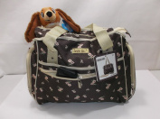 "Skinly Baby Nappy Changing Bag, Brown with Pink Flowers ""Love is"" Model"