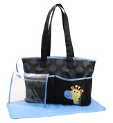 Cudlie! Double Pocket Nappy Bag Tote With Giraffe Applique, Black/Blue