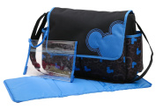 Disney Mickey Mouse Pop Flap Nappy Bag With Adjustable Shoulder Strap, Black/Blue