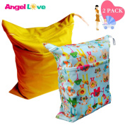 Cloth Nappy Wet and Dry Bags, Angel Love Baby 2PCS Waterproof Washable Reusable Wet Bag with Two Zippered Pockets - Beach, Pool, Gym Bag for Swimsuits or Wet Clothes