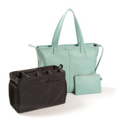 Zippered Downtown Nappy Bag - Full Grain Leather - Lake Blue