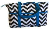 BayB Brand Nappy Bag - Black Chevron with Blue