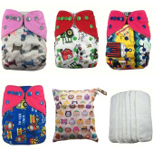 Nooya Cartoon Baby Reusable and Washable Cloth Nappy Gift Sets (4 Cloth Nappy Covers + 8 Inserts + 1 Nappy Bag)- Adjustable Snap One Size Cloth Pocket Nappies (gift sets, cartoon colour )