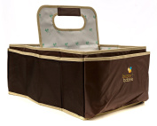 Buzzy Babee Nappy Caddy - Walnut/Coffee, Large - The Ultimate Nappy Organiser for Baby