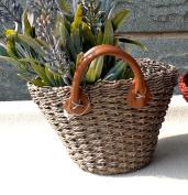 Handmade Straw Weave Vase Basket Storage Organiser Craft for Artificial Flower Wedding Christmas Home Garden Decoration