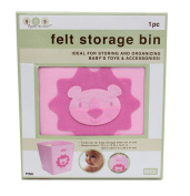 Collapsible Felt Storage Bin - 30cm X 30cm 36cm (Pink Lion)