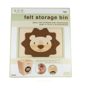 Collapsible Felt Storage Bin - 30cm X 30cm 36cm (Beige Lion)