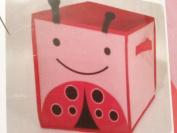 Child's Storage Bin Lady Bug Design Toys Books Shoes 2 Handles 28cm Canvas Square