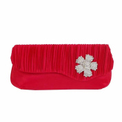 JNB Women's Classic Satin Evening Clutch with Brooch