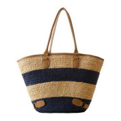 Jiaruo Girl Simple Stripe Straw Weave Summer Beach Bags Shoulder Bag Tote handbags