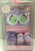 Baby Essentials Purple Owl Hat, Socks & Mittens Set