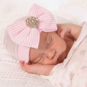 Newborn Kids Knitting Bow Soft Cotton Beanie Baby Hat Cap with Diamond Infant