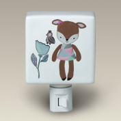 Fiona Fawn Deer Night Light Ceramic Nightlight Fawn Deer with Sparrow and Flower