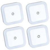 LED Night Light Lamp with Auto-control Light Sensor,Square Shape,White,Set of 4