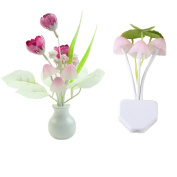 2 Styles Mushroom LED Night Light with Dusk to Dawn Sensor for Bedroom,Hallway,Wall and More