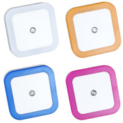 LED Night Light Lamp with Auto-control Light Sensor,Multicolor,Square Shape,Set of 4
