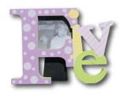 """Colourful Baby Toddler """"Five"""" Picture Frame for Girls - 20cm x 15cm x 2.5cm"""