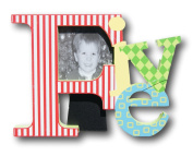 "Colourful Baby Toddler ""Five"" Picture Frame for Boys - 20cm x 15cm x 2.5cm"