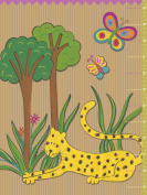 Jungle Theme Growth Chart for boys. Nursery and Toddler Decor. Baby Boys