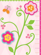 Pink Flowers Growth Chart for Girls. Nursery and Toddler Decor. Baby Girls.