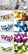 24 Pcs 3D Butterfly Wall Stickers Art Decor Decals -random colour
