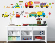 LiveGallery Removable Cute Cartoon Decorative DIY Car, Excavators, Bulldozers Peel & Stick Kids Toys Bedroom Bathroom Living room Nursery Room Classroom Wall Art Decor Sticker Decals