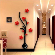 Liangxiang Home Room Decor DIY Modern 3D Vase Flower Tree Design Art Decal Wall Stickers
