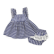 Baby Girls' Striped Ruffle Sleeve Lace Dress +Pants Nappy Cover Outfit