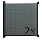 Gaterol Active Lite Black Double Pack - Retractable Safety Gate - Super Safe 90cm Tall and Opens up to 140cm