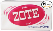 (PACK OF 19 BARS) Zote Pink Laundry Bar Soap, with Even MORE Pinkning Power & Satin Remover. Light Fresh Scent! Safe for delicate clothes!
