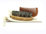 Beard Brush And Comb Set For Men - Bamboo - 100% Genuine Boar Bristles Medium Firmness - Bamboo Wood Hair Brush Comb - Pocket Size and Travel Friendly - Matching Travel Bag included