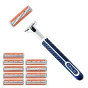 3 Blades Razor System for Man Shaving, 1 Handle + 10 Cartridges